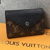 LV Louis Vuitton Fashion Retro Candy Color Leather Buckle Purse Wallet Black