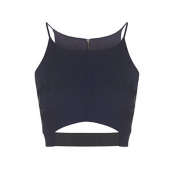 Elastic Cut-Out Crop Top - Navy Blue