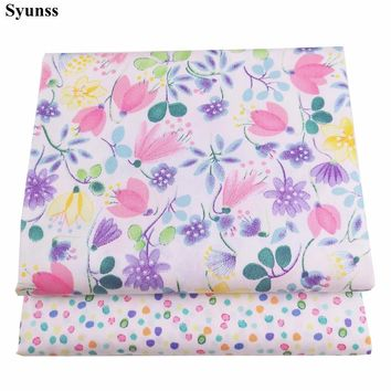 Syunss Color Floral Dot Print Twill Cotton Fabric DIY Handmade Sewing Patchwork Baby Cloth Bedding Textile Quilting Telas Tecido
