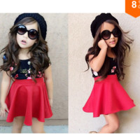 Girls 2 PC Black Floral Top and Red Skirt