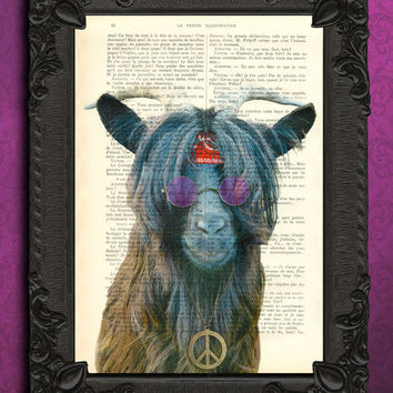 Goat, hipster print - farm animal art print, goat art with hippie sunglasses