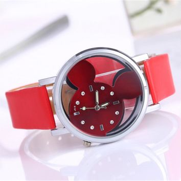 Rhinestone Watch Women 2016 Fashion Brand Luxury Mickey Mouse Casual Quartz Wristwatches Ladies Dress Clock Girl Cartoon Watch