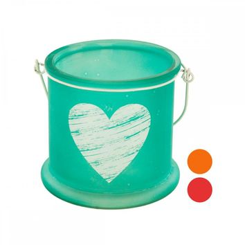 Frosted Glass Heart Candle Holder With Handle
