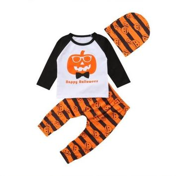 Infant Newborn Baby Boy Girls Pumpkin Halloween Long Sleeve Cotton Clothes Cap Leggings Outfit