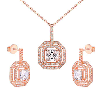 Rose Gold Tone Ladies Pendant Necklace Set Princess Cut Solitaire Stud earrings
