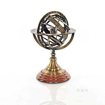 Armillary Sphere on wood base Hancrafted Nautical Decor