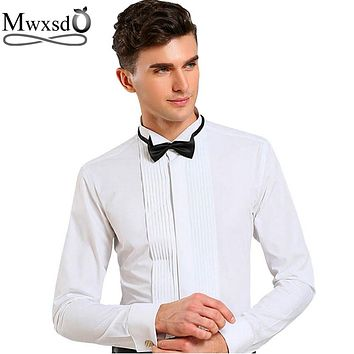 Men's Tuxedo Wedding Slim Fit Long-sleeved Solid French Shirts