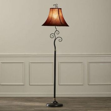Contemporary 61-inch Tall Floor Lamp with Red and Gold Bell Shade