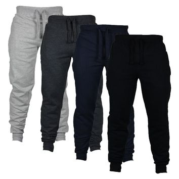 Mens Fashion Joggers Solid Color Casual Drawstring Sweatpants Trousers