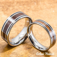 Tungsten Wedding Ring Set with Hawaiian Koa Wood handmade (6mm & 8mm width)