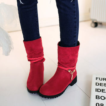 Suede Round Toe Woven Strap Low Heel Short Boots