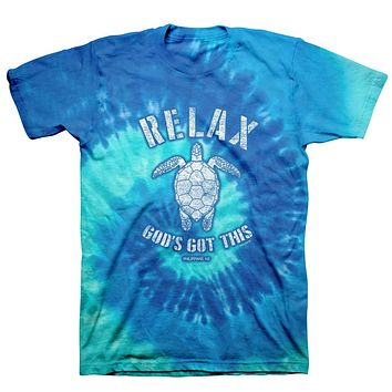 Kerruso Relax God's Got This Turtle Spiral Tie Dye Cherished Christian Bright Unisex T Shirt