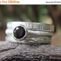 SALE 10% OFF 5mm black spinel gemstone ring set of three stackable rings sterling silver black wedding ring band gothic ring halloween jewel