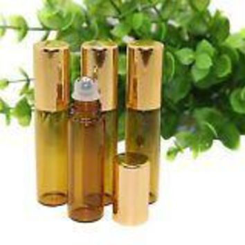 12 Pcs 3ml 0.1oz Empty Refillable Amber Glass Roll on Bottles with Stainless Steel Roller Balls Perfumes Essential Oil Lip Gloss Balms Roller Bottle Vial Container (Gold Lid)