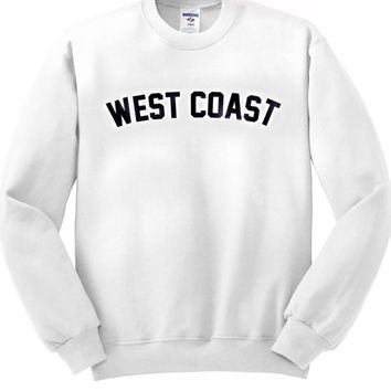 West coast Crewneck sweatshirt screenprint unisex clothing men clothing women's clothing cheap affordable california style