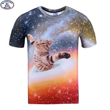 Mr.1991 brand galaxy cat 3D t-shirt for boys and girls New 2017 summer style teens t shirt big kids tops 11-20 years A39