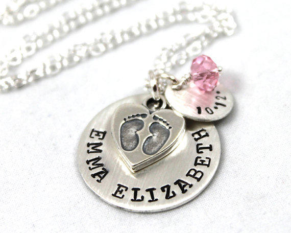 Baby Gift Jewelry For Mom : Personalized necklace for new mom from lustrouselements