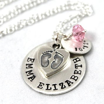 Personalized Necklace for New Mom, Personalized Jewelry, New Baby Necklace, Sterling Silver Jewelry, Everday Jewelry, Personalized Gift