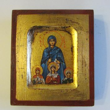 Miniature Religious Icon Hand Made In Greece Gold Painted Scripted