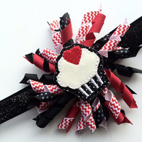 Black, White, and Red Cupcake Headband - Birthday Headband - Black Glitter Elastic Headband for Girls - Korker Hair Bow for Birthday -