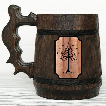 Tree Of Gondor Mug. Lord of the Rings Mug. Hobbit Mug. Custom Beer Steins. Personalized LOTR Gift Frodo Wooden Beer Tankard. Gondor Mug. Hobbit Gift #97 / 0.6L / 22 ounces