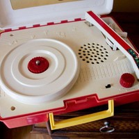Record Player Vintage Radio Shack Mushroom Houses by MollyFinds