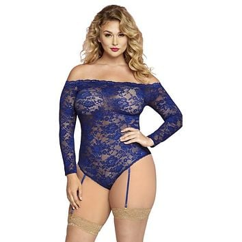 Sexy Plus Size Christian Floral Lace Off Shoulder Long Sleeve Teddy with Removable Garters