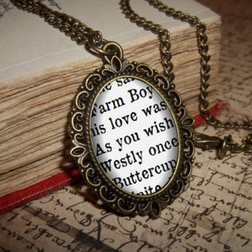 The Princess Bride Necklace, 'As you wish' Necklace, Buttercup and Farmboy Quote Necklace, Inigo Montoya Jewelry, Gift for Readers