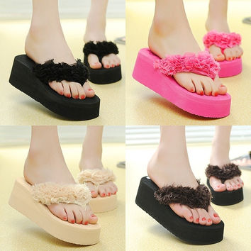 Women High-heeled Thick Flip Flops Sandals Beach Slippers Shoes