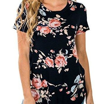 Short Sleeve Round Neck Floral Printed Blouse Casual Tops T Shirt
