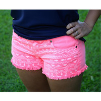Neon Pink Aztec Print Shorts (Size Small)
