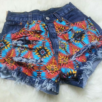 Denim High Waisted Shorts Tribal Print MADE TO ORDER
