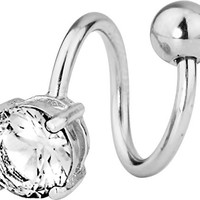 14g Surgical Steel Spiral Twist CZ Solitaire Jeweled Belly Button Ring