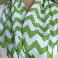 Lime Green Chevron Infinity Scarf