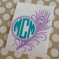 Peacock Feather Monogram | Monogrammed Feather | Feather Deal | Feather Car Decal | Monogrammed Feather Decal | Monogrammed | Personalized