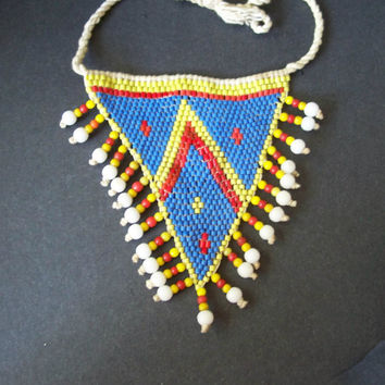 Vintage Tribal Style Necklace Hemp and Seed Beads