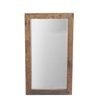 Natural Wood Framed Rectangular Wall Mirror, Brown By The Urban Port
