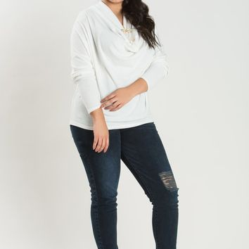 Plus Abigail White Cowl Neck Top