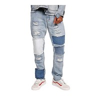 Fashion loose jeans Men Casual Trousers joint Fashion Fitted Bottoms zipper street wear hip hop straight jeans man