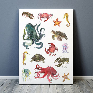 Nursery print Sea life poster Nautical print Watercolor art 1ACW7
