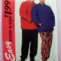 Misses, Men's or Teen Boys' Hoodie Sweatshirt Top and Pants Size XS, Small, Medium McCall's Stitch 'N Save 7218 Sewing Pattern Uncut