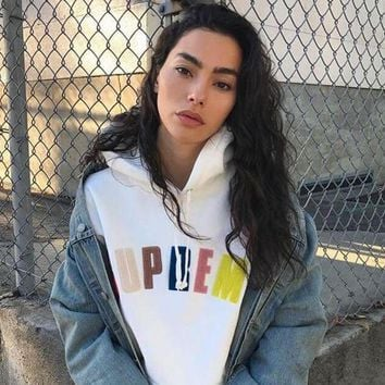 DCCK6HW Supreme' Rainbow Logo Letter Embroidery Hooded Long Sleeve Pullover Sweater Loose Sweatshirt