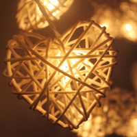 20 LED White Hearts Rattan ball string lights  for Home Decoration,Wedding,Party,Bedroom,Patio and Decoration
