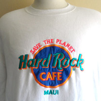 vintage 80's 90's Hard Rock Cafe Maui Hawaii graphic sweatshirt embroidered applique neon pink teal blue yellow logo crew neck white fleece