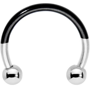 """3/8"""" Black and Steel Tone Two Tone Horseshoe Curved Barbell"""
