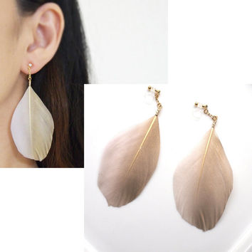 Pierced Look! Dangle Light Pink & Gold Goose Feather Invisible Clip On Earrings, Wedding Clip-On Earrings, Bridal Clip Earrings, no piercing