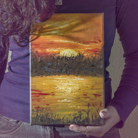 Sunset painting on canvas, sunset landscape original oil painting art, handpainted oil lake sunset, orange green oil painting home decor