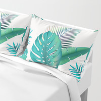 Tropical leafs pattern Pillow Sham by printapix