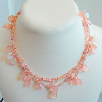 Shades of Pink Czech Glass Diamond Drop Necklace Set    ~Summer Beaded Necklace Set~Pink Necklace Set~Looping Necklace~NecklaceEarringSet