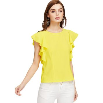 Yellow Cute Blouses Women Flutter Cap Sleeve Brief Elegant Summer Tops Fashion Casual O Neck Ruffle Ladies Blouse